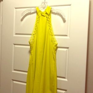 Dresses & Skirts - Open back neon yellow high neck dress